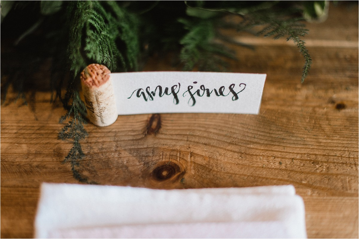 Hand Lettered Place Card for Prairiewood Vow Renewal Manhattan KS by Bethany Meysenburg
